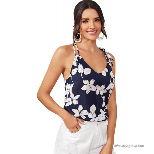 Floerns Women's Floral Print V Neck Sleeveless Self Tie Cami Blouse Shirt Tops at  Women's Clothing store