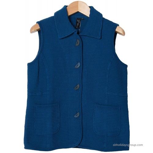 Focus Fashion Women's Cotton Waffle Coconut Button Vest at  Women's Clothing store