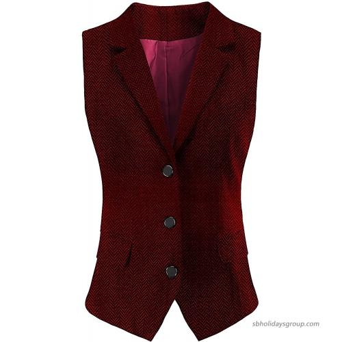 V VOCNI Women V-Neck Three Front Button Slim fit Waistvest Vest at  Women's Clothing store