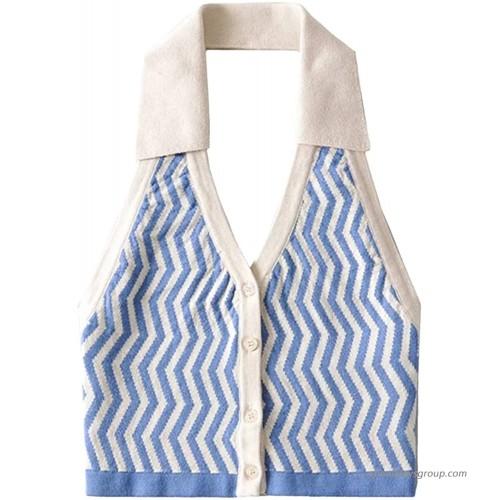 Women Fashion Halter Vest Y2K Striped Knitted Vest Slim Fit Halter Vest Streetwear Top at  Women's Clothing store