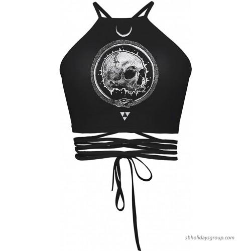 Women's Printed Halter Bandage Vest Crop Top ShirtSkull3 at  Women's Clothing store