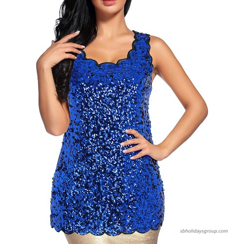 Women's Shimmer Glam Sequin Lace Sparkle Tank Vest Tops at  Women's Clothing store