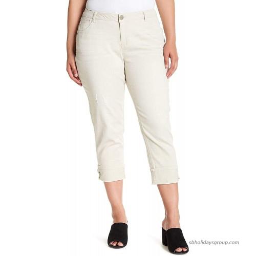Democracy Flex-ellent Slim Straight Crop Jeans Stone at  Women's Jeans store