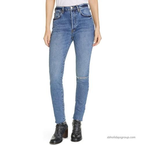Free People Women's Stella High Waist Raw Hem Skinny Jeans at  Women's Jeans store