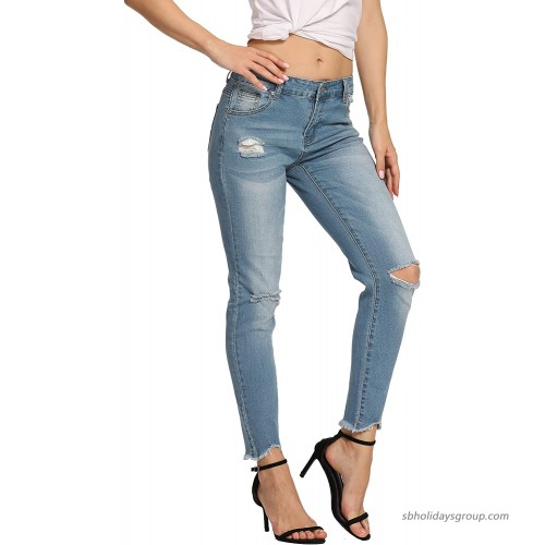 Kegiani Womens Juniors Mid Rise Distressed Ripped Destroyed Skinny Jeans with Cut Off Hem Detail at  Women's Jeans store