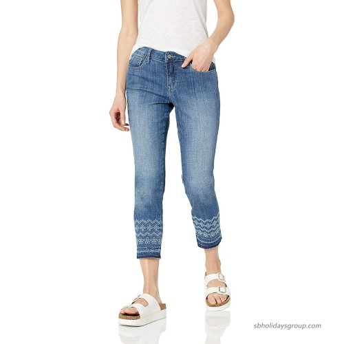 Laurie Felt Women's Classic Denim Stiletto Jeans with Embroidered Drop Hem Brushed Medium 0 at  Women's Jeans store