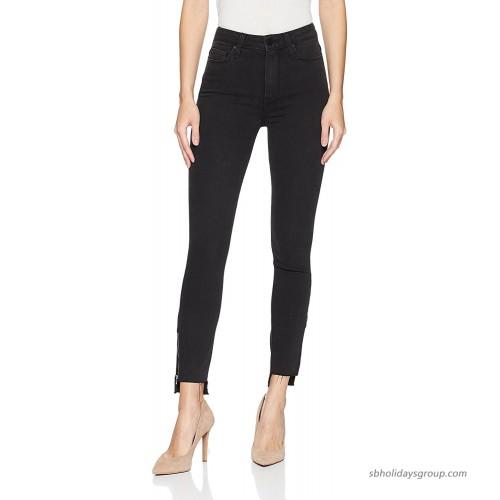 PAIGE Women's Margot Transcend High Rise Ultra Skinny Crop Jean Black Fog Zip Uneven Hem 28 at  Women's Jeans store