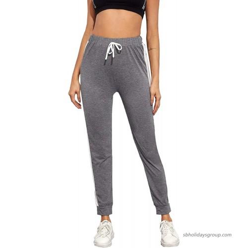 Milumia Women's Sport Side Stripe Sweatpants Drawstring High Waist Workout Athletic Pants Grey at  Women's Clothing store