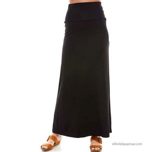 Azules Women's Rayon Span Regular to Plus Size Maxi Skirt - Solid at  Women's Clothing store