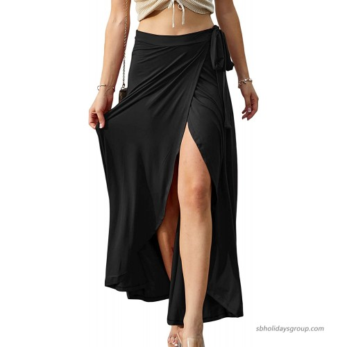 Doublju Womens Waist Strap Tie Up Point Long Skirt at  Women's Clothing store