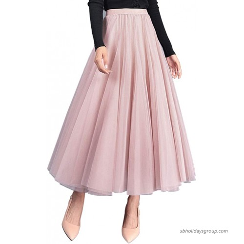 FEOYA Women's Maxi Tulle Skirt Tutu Princess Skirt Pleated Midi Petticoat High Waist A Line Large Swing Ankle Length Party Skirt Pink at  Women's Clothing store