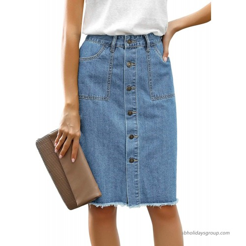 luvamia Women's Casual Mid Rise Button Down Frayed Raw Hem Fit Denim Jean Skirt at  Women's Clothing store