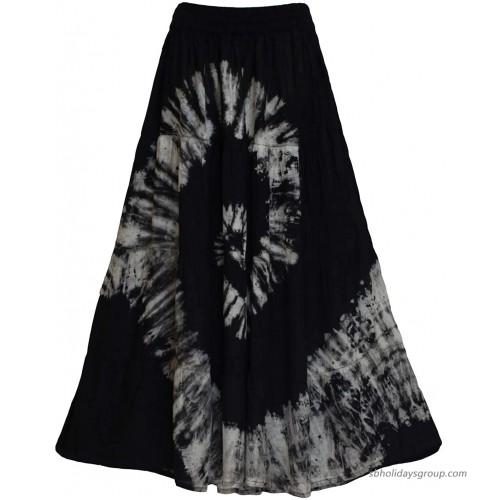 Maxi Tiered Long Skirt Bohemian Elastic Waist Tie Dye Handmade Plus Size Black at  Women's Clothing store