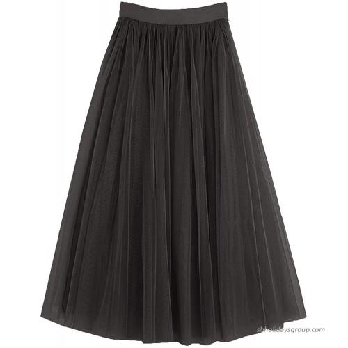 PauMaria Women's Midi Tulle Skirt Elastic Waist 3 Layered Mesh Formal Prom Party Tutu Skirt A Line at  Women's Clothing store
