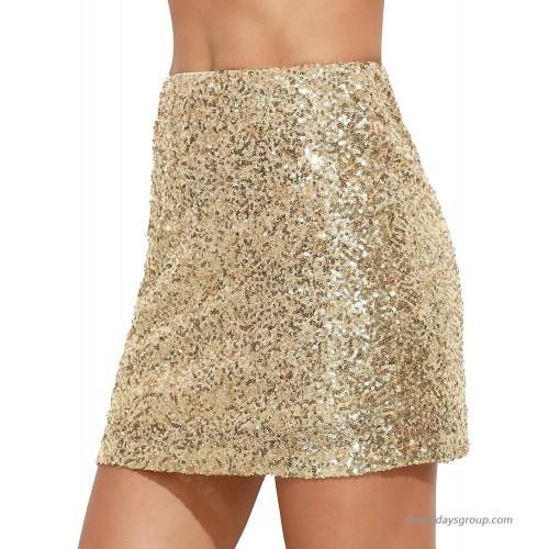 Verdusa Women's Above Knee Sequin Sparkle Mini Skirt at  Women's Clothing store