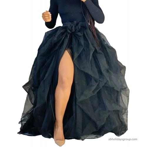 Women Hi Slit Tutu Maxi Dress Tulle Ruffle Mesh Lace Long Skirt Floor Length Layered Evening Dress Wedding Night Party Skirt Black One Size at  Women's Clothing store