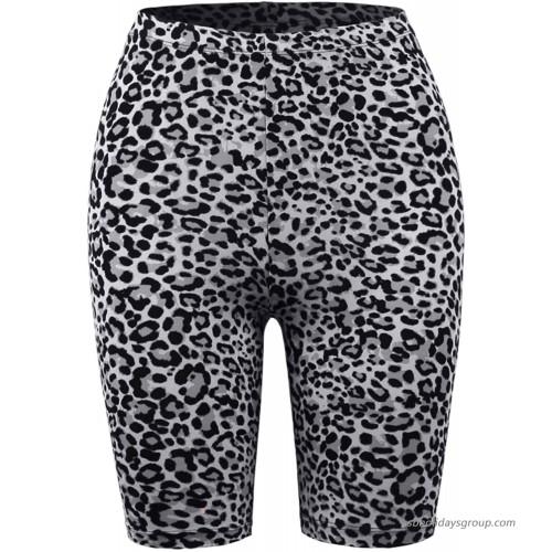 A2Y Women's Brushed Microfiber Leopard Print Biker Bermuda Shorts  