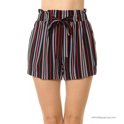Lock and Love Womens Casual Elastic Waist Summer Shorts with a Belt  