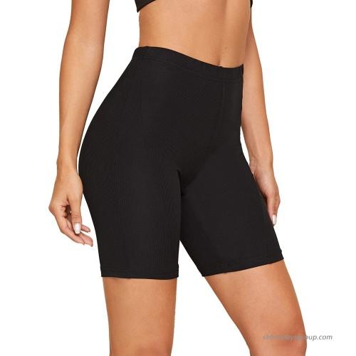 MakeMeChic Women's High Elastic Waist Rib Knit Biker Shorts Fitted Workout Pants at  Women's Clothing store