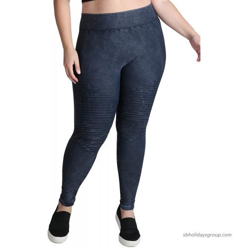 NIKIBIKI Women Seamless Vintage Moto Leggings Plus Size Vintage Denim at  Women's Clothing store