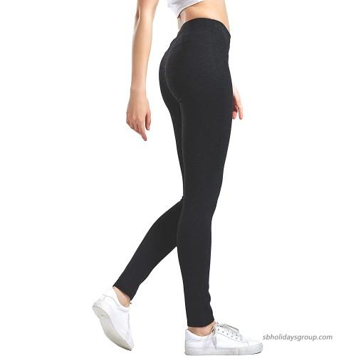 SUMMER HANA Women's High Waist Casual Leggings – Black & Melange Grey – Size S~XL- Full Length Opaque Slim at  Women's Clothing store