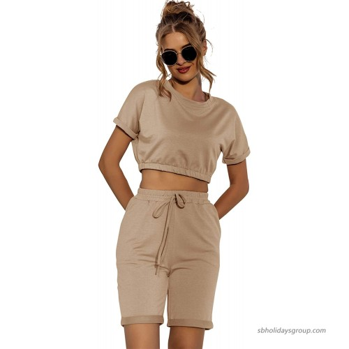 WAYMODE Women's 2 Piece Tracksuit Short Sleeve Crop Top and Shorts with Pockets Oufits