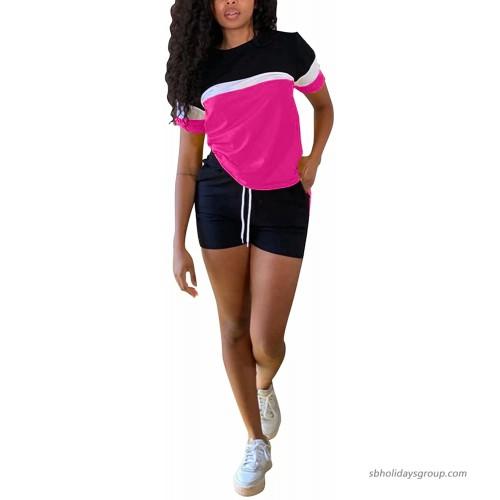 Women 2 Piece Shorts Set Casual Short Sleeve Patch Work T-Shirt Pocket Bodycon Short Pants Tracksuit Sets Sportswear