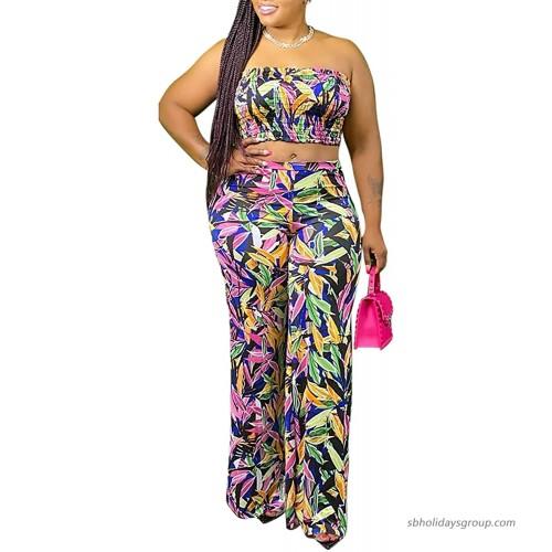 Women's Sexy 2 Piece Outfits Tube Crop Top Wide Leg Pants Set Jumpsuits