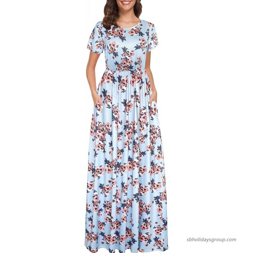 Afibi Women Short Sleeve Loose Floral Printed Casual Maxi Dress with Pockets at  Women's Clothing store