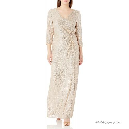 Alex Evenings Women's 3 4 Sleeve Long Dress with Cinched Tie Waist