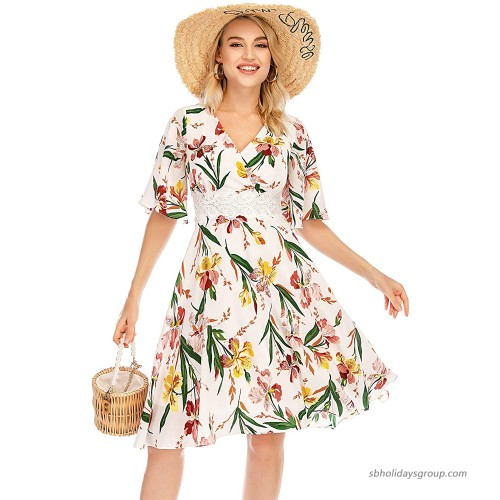 Bbonlinedress Women's Summer Boho Floral Chiffon Embroidered V-Neck Short Casual Party Dress at  Women's Clothing store