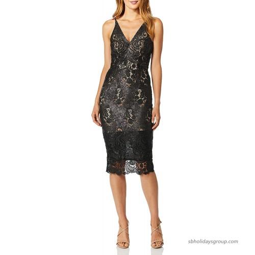 Dress the Population Women's Aurora Lace Plunging Spaghetti Strap Midi Sheath Dress at  Women's Clothing store