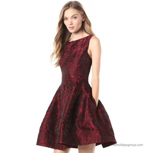 HALSTON Women's Fit and Flare Floral Jacquard Dress at  Women's Clothing store