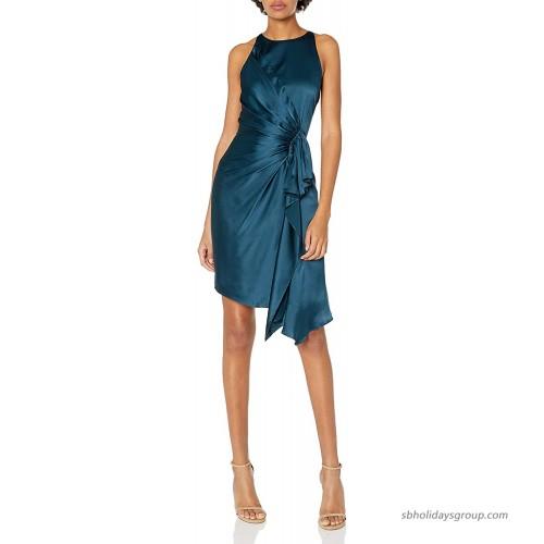 HALSTON Women's Sleeveless Draped Front Satin Dress at  Women's Clothing store