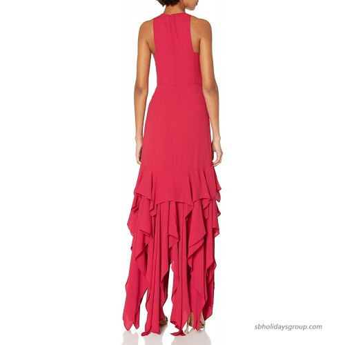 HALSTON Women's Sleeveless Ruffle Skirt Silky Georgette Gown at Women's Clothing store