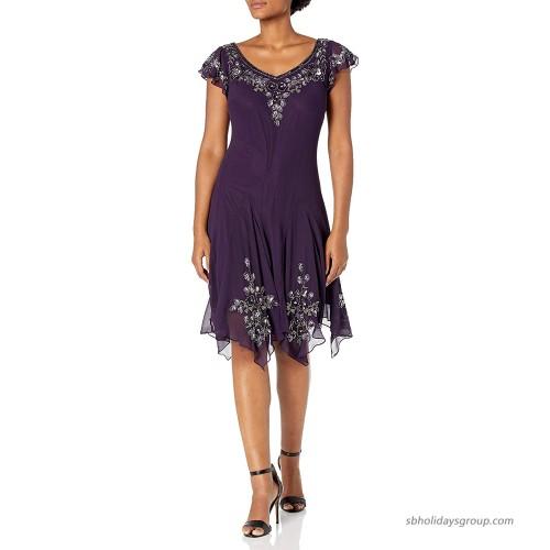 J Kara Women's Flutter Sleeve Short Cocktail Hanky Hem Beaded Dress at  Women's Clothing store