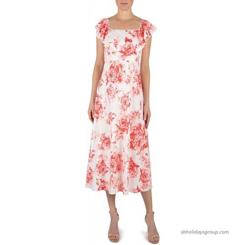 Julia Jordan Women's Square Neck Short Sleeve Back Tie Maxi Dress at  Women's Clothing store