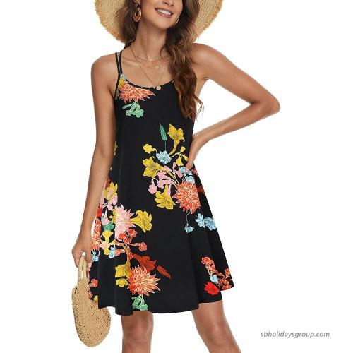 MSBASIC Women's Sleeveless Double Adjustable Spaghetti Strap Summer Casual Swing Dress at  Women's Clothing store