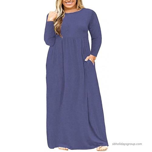 POSESHE Women's Plus Size Tunic Swing T-Shirt Dress Long Sleeve Maxi Dress with Pockets at  Women's Clothing store