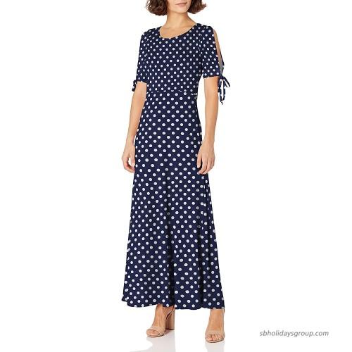 Star Vixen Women's Petite Short Slit Sleeve Keyhole-Back Skater Seam Maxi Dress at  Women's Clothing store