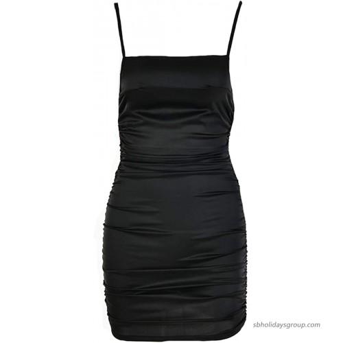 TANICY Women's Sexy Spaghetti Strap V Neck Bacekless Slip Satin Mini Slit Club Dress