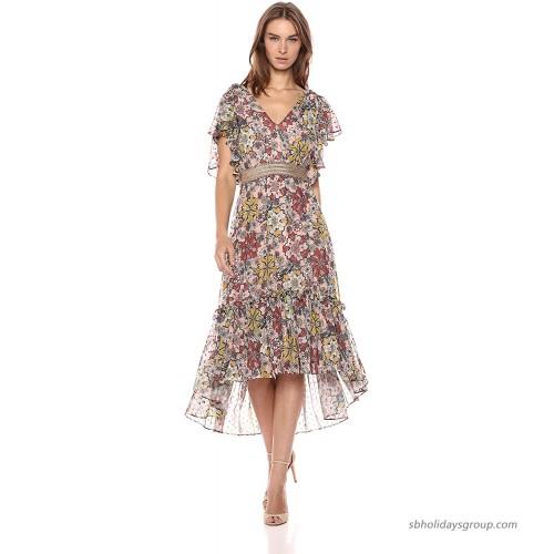 Taylor Dresses Women's Printed Chiffon Smock Belt Dress at  Women's Clothing store