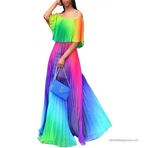 Women's Sexy Maxi Dress Off Shoulder Colorful Pleated Loose Long Dress