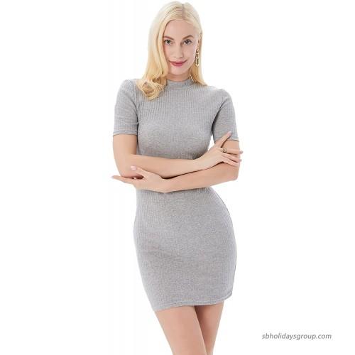 Womens Short Sleeve Rib Knit Bodycon Dress Mock Neck A Line Mini Club T Shirt Dress at  Women's Clothing store