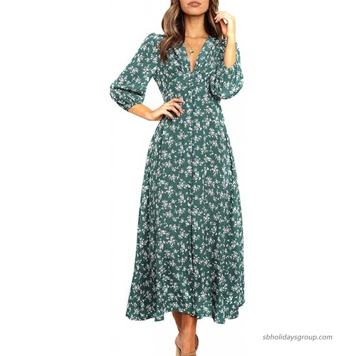 Yingzhen Women 3 4 Sleeve Button Down Floral Maxi Dress V Neck Flowy Casual Party Boho Long Dresses at  Women's Clothing store
