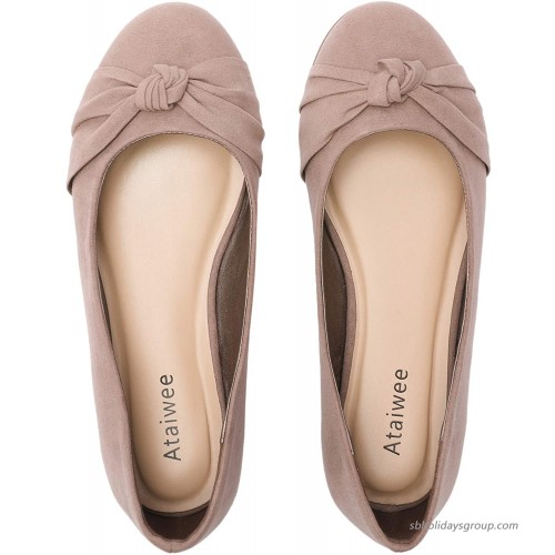Ataiwee Women's Wide Width Flat Shoes - Comfortable Round Toe Classic Cute Slip-on Ballet Flats. Flats