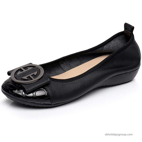 Comfort Slip On Shoes for Women Genuine Leather Ballet Flats Low Heeled Wedges Dress Shoes Flats