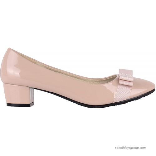 KRISP Womens Low Block Heel Patent Courts Ladies Work Party Ballerina Pumps Shoes Pumps