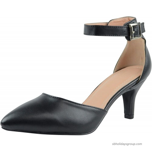 Cambridge Select Women's Closed Pointed Toe D'Orsay Buckled Ankle Strap Mid Heel Pump Pumps
