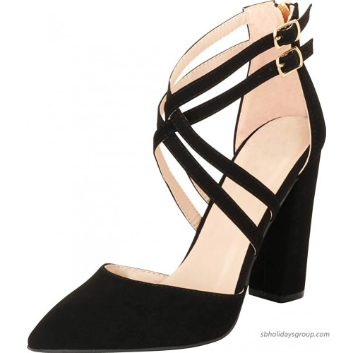 Cambridge Select Women's Pointed Toe D'Orsay Crisscross Strappy Chunky Block Heel Pump Pumps